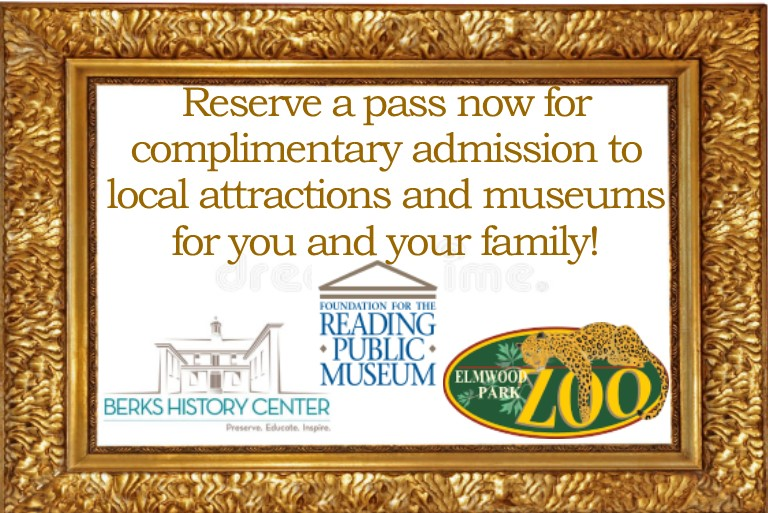 Admission available for Berks Historical Society, Reading Public Museum, the Elwood Park Zoo, and the DaVinci Science Center