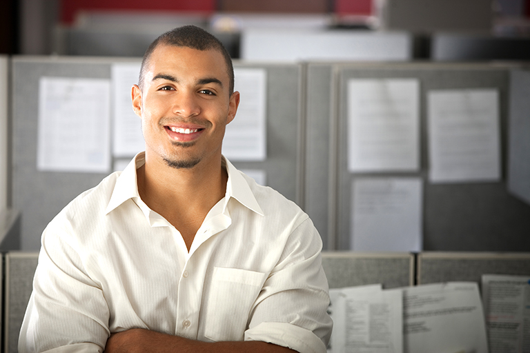 confident man in office