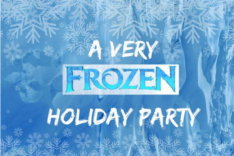"Blue background with ice and text ""A Very Frozen Holiday Party"""