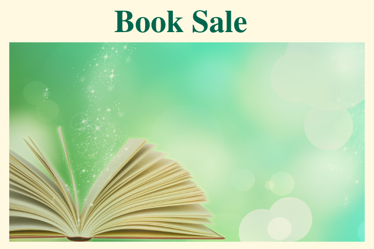 "An open Book with star dust rising from it on a pale green back ground. Text reads ""Book Sale"""