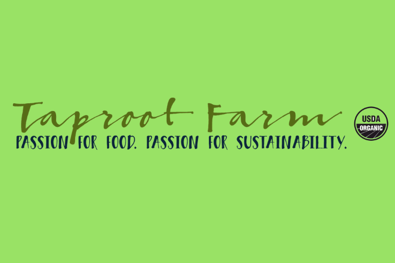 "Light green background. Text, ""Taproot Farm. Passion for Food. Passion for Sustainability."""