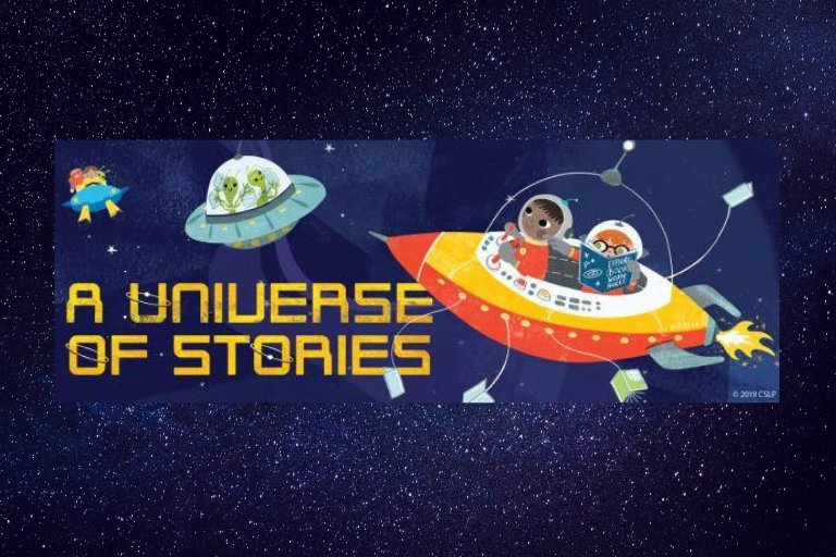 "Three Cartoon space craft with text reading, ""A Universe of Stories"""