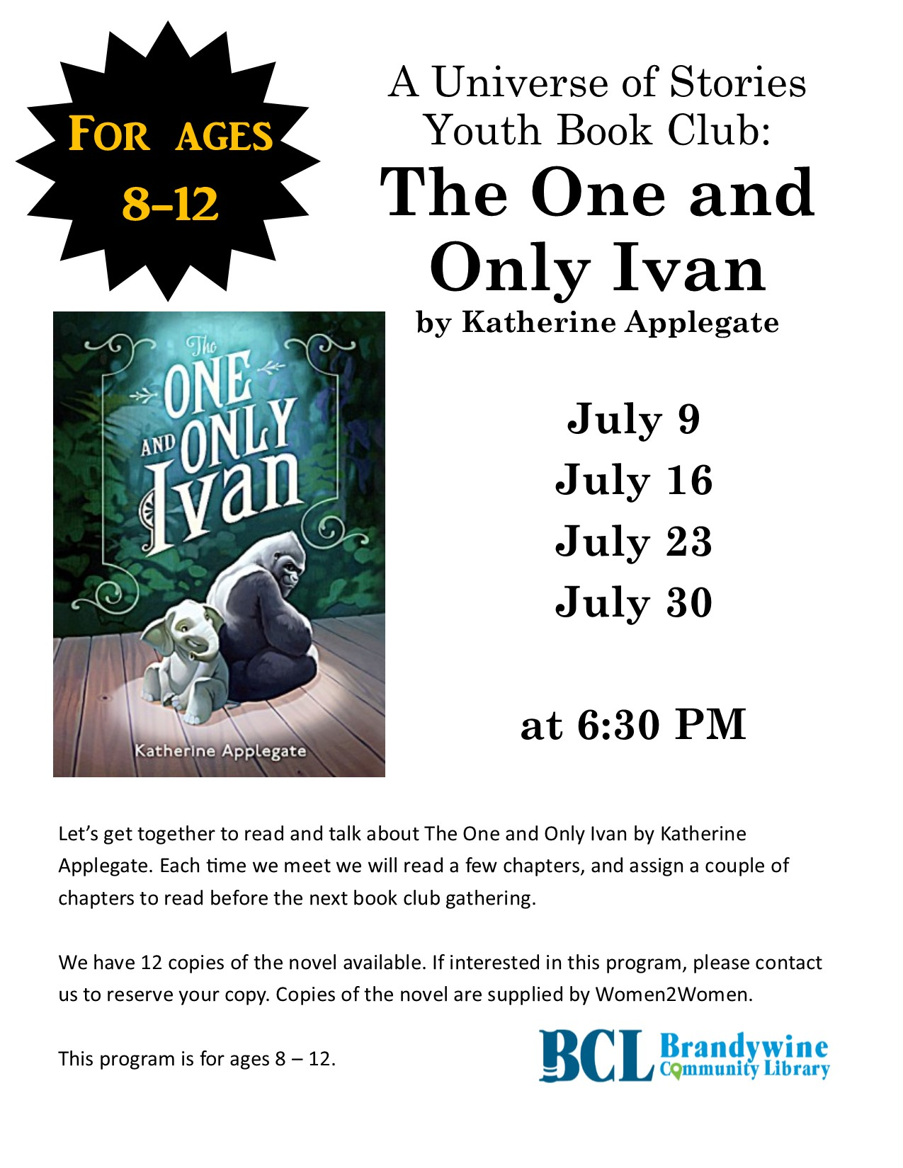 Youth Book Club: The One and Only Ivan