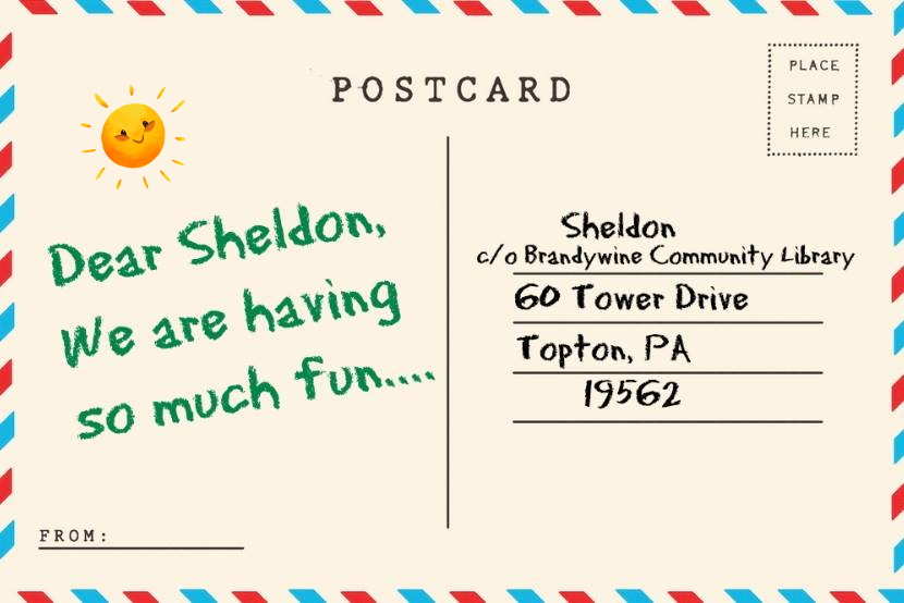 Send Sheldon a postcard in care of Brandywine Comm Library, 60 Tower Drive, Topton PA 19562