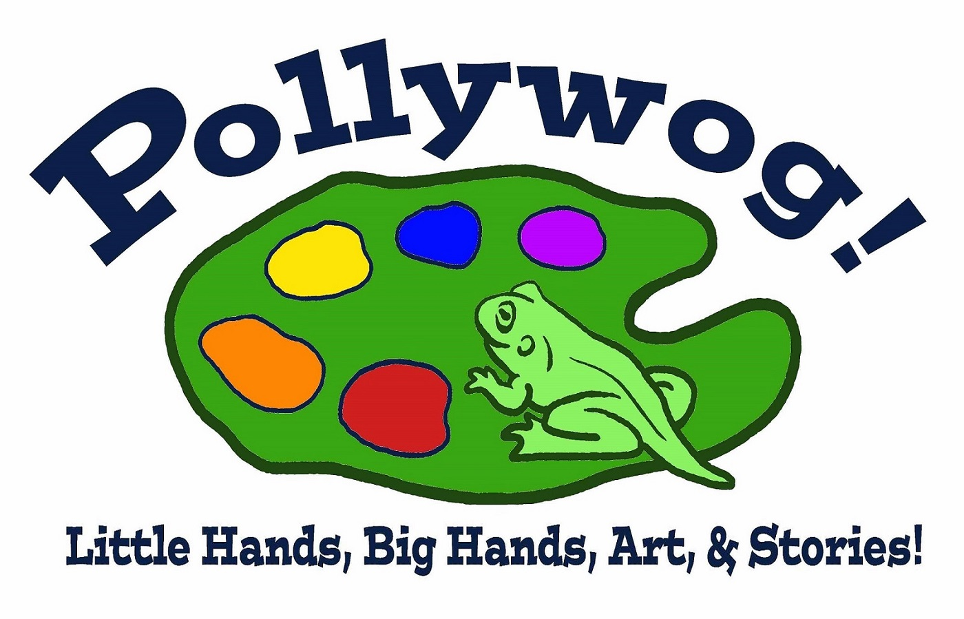 Pollywog logo of frog on lily pad with multicolored circles