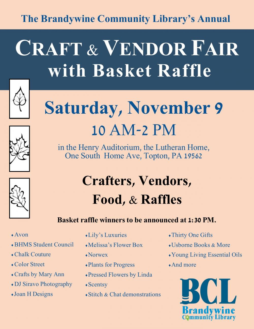 Craft and Vendor Fair Nov 9th to benefit the library