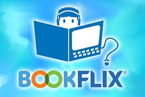 bright blue water surface background with Bookflix logo and cartoon child with book and headphones