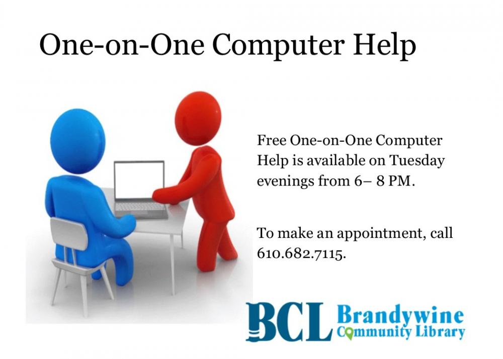 One on One computer help Tuesdays 6- 8 pm