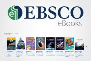 EBSCO logo with line of book covers on gray background