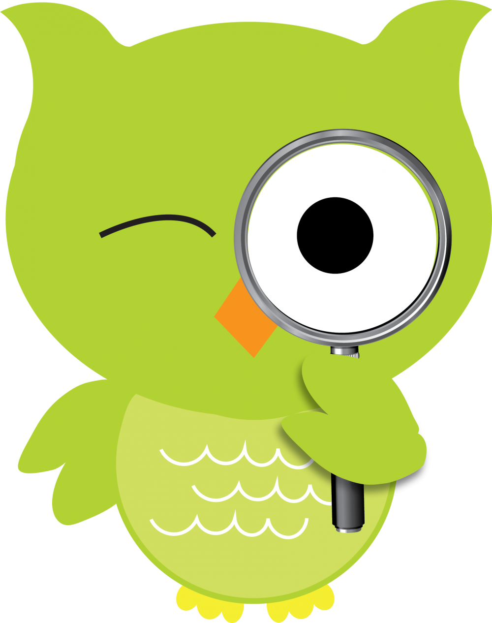green owl with magnifying glass_storyrider hootie