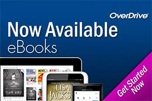 Variety of OverDrive eBooks on smart devices on blue background