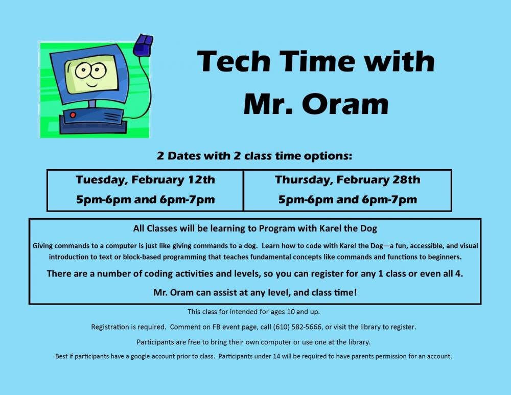Tech Time with Mr  Oram | Berks County Public Libraries