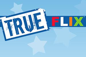 TrueFLIX logo on blue background with light blue stars