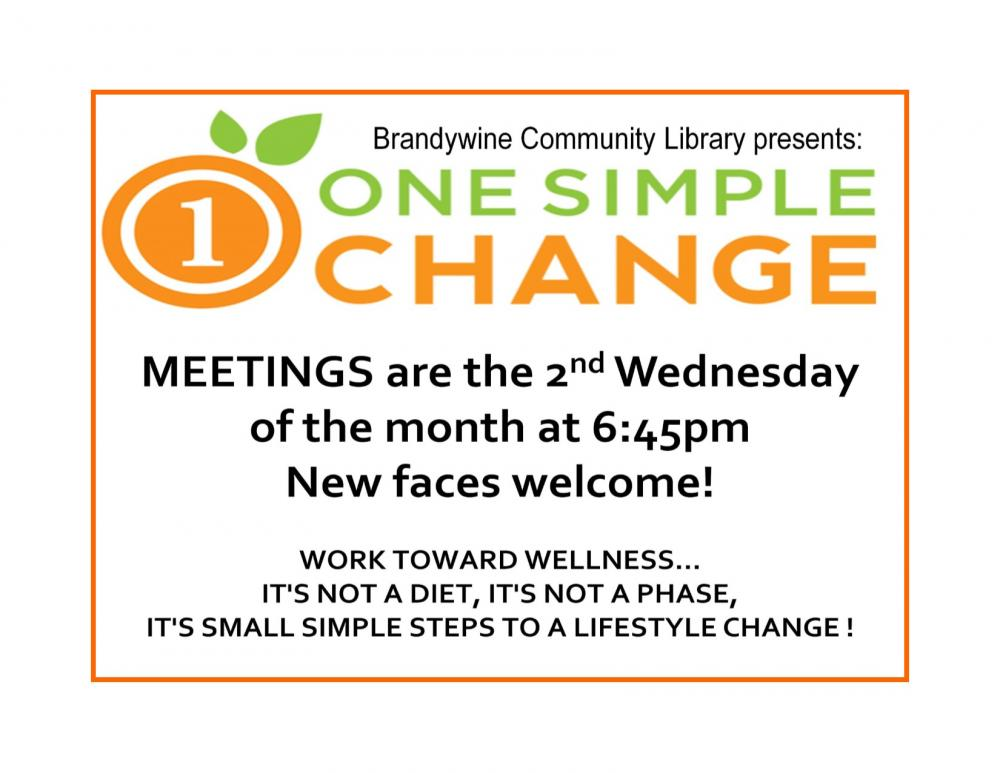 One Simple Change meetings are on 2nd Wednesday at 6:45