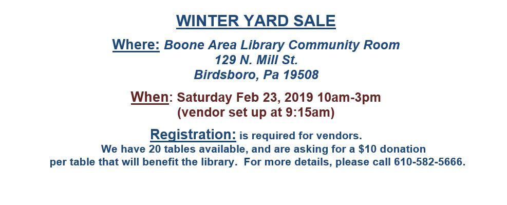 Winter Yard Sale