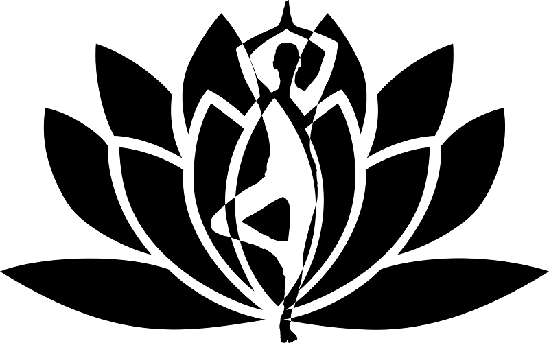 Yogi in pose with lotus flower in background
