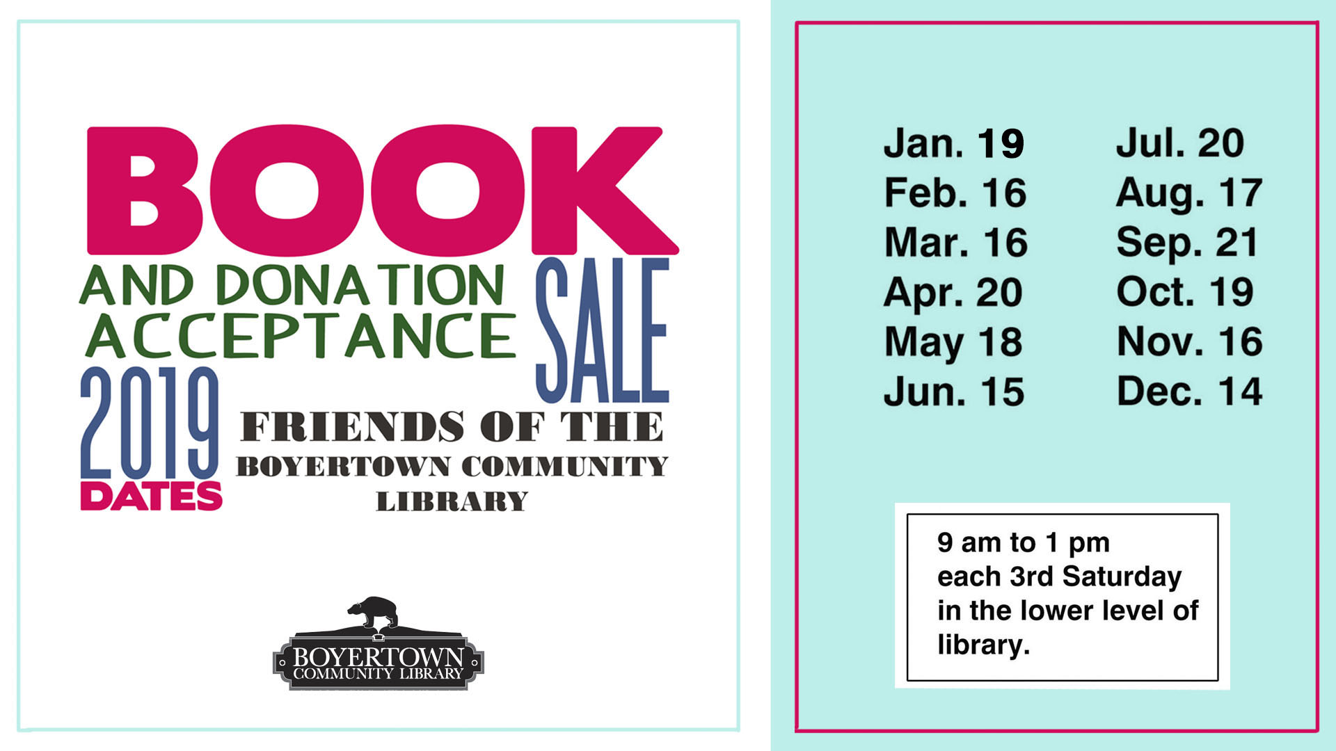 2019 Book Sale Dates