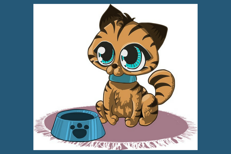 Cartoon Kitten with Large Blue Eyes Looking Up