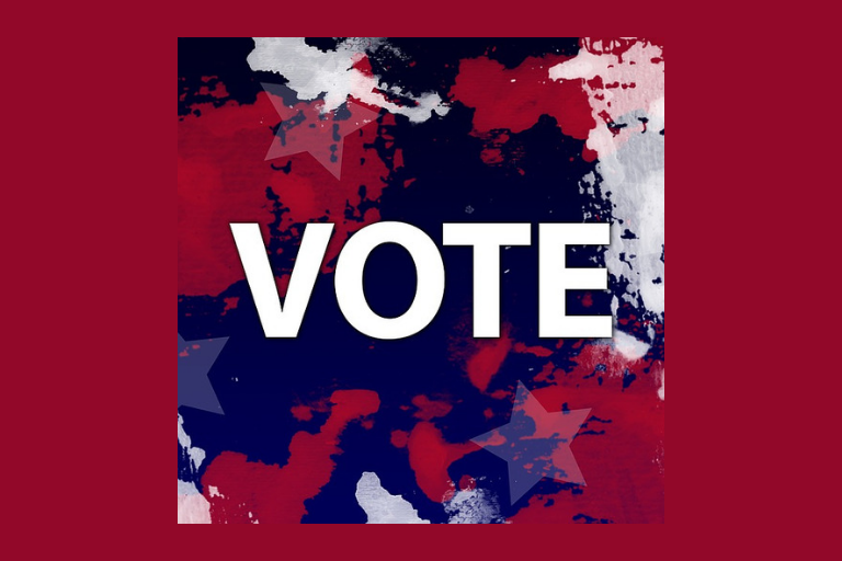 "Red background with red, white and blue abstract pattern and ""Vote"""