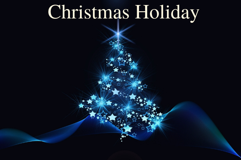 Dark blue background with a abstract image of a twinkling light blue Christmas tree