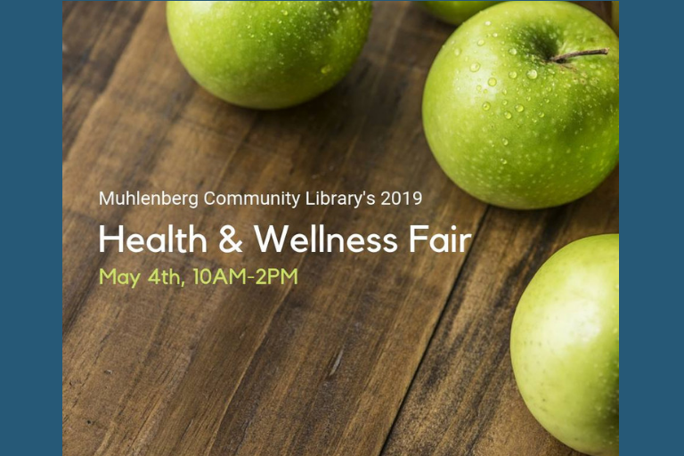 "Three Green Apples on a wooden table, Text reads ""Health & Wellness Fair"""