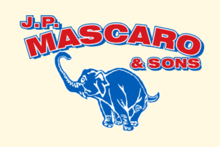 Text J.P. Mascaro & Sons in red type with blue elephant underneath