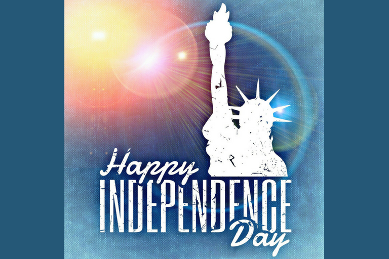"Statue of Liberty with ""Happy Independence Day"""