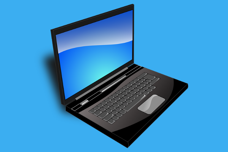 An open black laptop with a blank blue screen