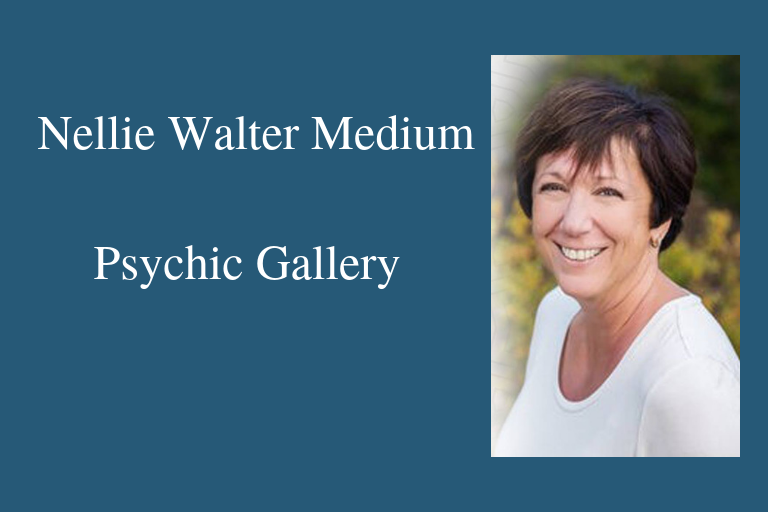 "Photo of Nellie Walter (woman with short brown bob wearing a white shirt) Text ""Nellie Walter Medium Psychic Gallery."""