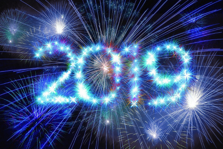 Dark blue background with fireworks and large 2019 in text
