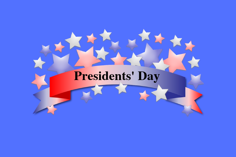 "Red, white and blue star banner with words ""Presidents' Day"" written in black. Blue background"