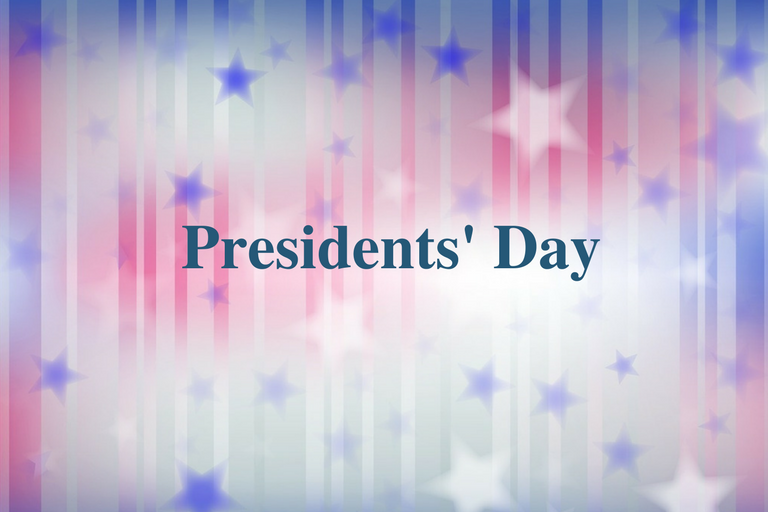 Red, white and blue star background with words Presidents' Day