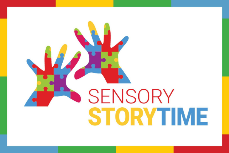 "Two hands made of multi-colored puzzle pieces with text reading, ""Sensory StoryTime"""