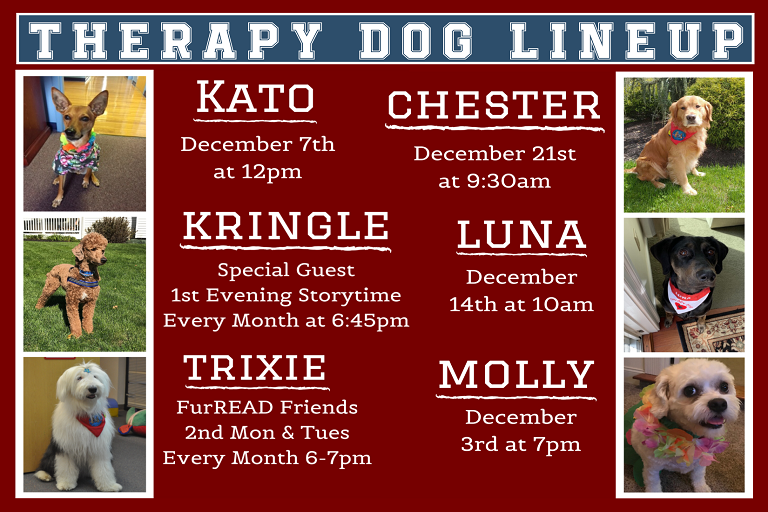 Therapy Dogs December Lineup