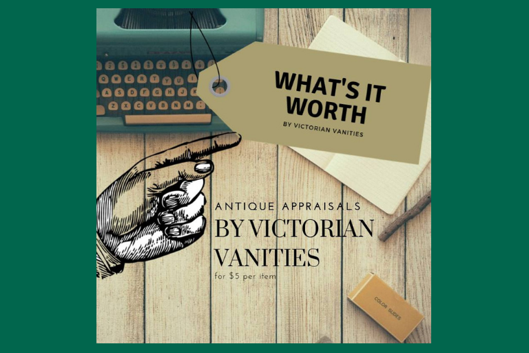 "Antique Typewriter with a hand pointing to a price tag which reads ""What's it worth? By Victorian Vanities"